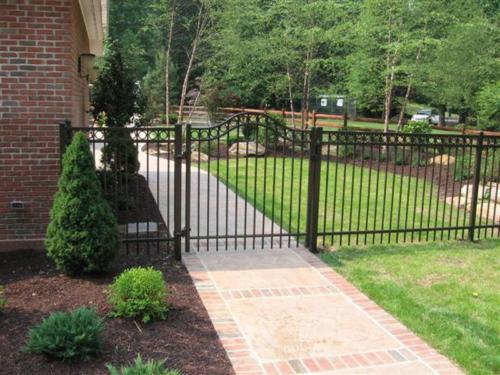 Majestic Aluminum Fence with Arched Gate with Rings