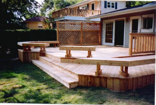 Custom-built Trellis, Seating, and Deck in Niles