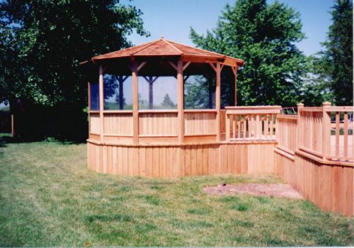 Cedar Wood Deck and Gazebo with Screens