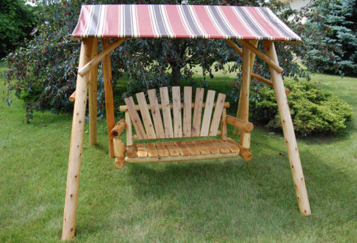 Lawn Swing with Brown Striped Canopy